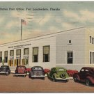 Post Office, Fort Lauderdale, FL c1951 Linen Postcard