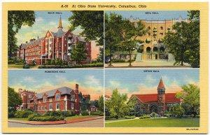 Ohio State University, 4 Views c1930s Linen Postcard