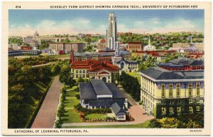 Schenley Farm District, U of Pittsburgh Linen Postcard