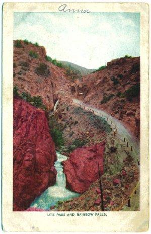 Ute Pass and Rainbow Falls, CO Postcard c1910