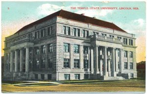 Temple-State University, Lincoln, NE Postcard c1909