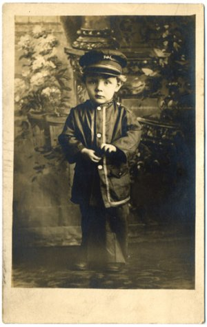 Adorable Young Boy in Uniform, Real Photo Postcard