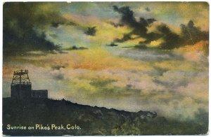 Sunrise on Pike's Peak, CO c1910s Postcard