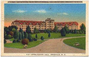 Appalacian Hall, Asheville, NC Linen Postcard
