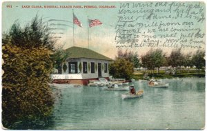 Lake Clara, Mineral Palace Park, Pueblo, CO Postcard