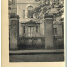 Old Postcard - Unidentified Building w/Tall Iron Fence