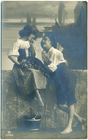 RPPC - Humor (Children portray adults) - Young Lovers
