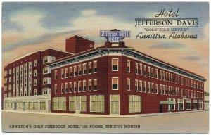 Hotel Jefferson Davis, Anniston, AL c1943 Postcard