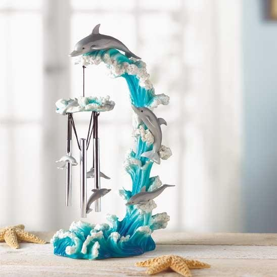 DOLPHIN ON WAVE WINDCHIME
