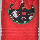 "Embroidered ""Christmas Hello Kitty Ornament"" Applique Christmas Hand ToweL"