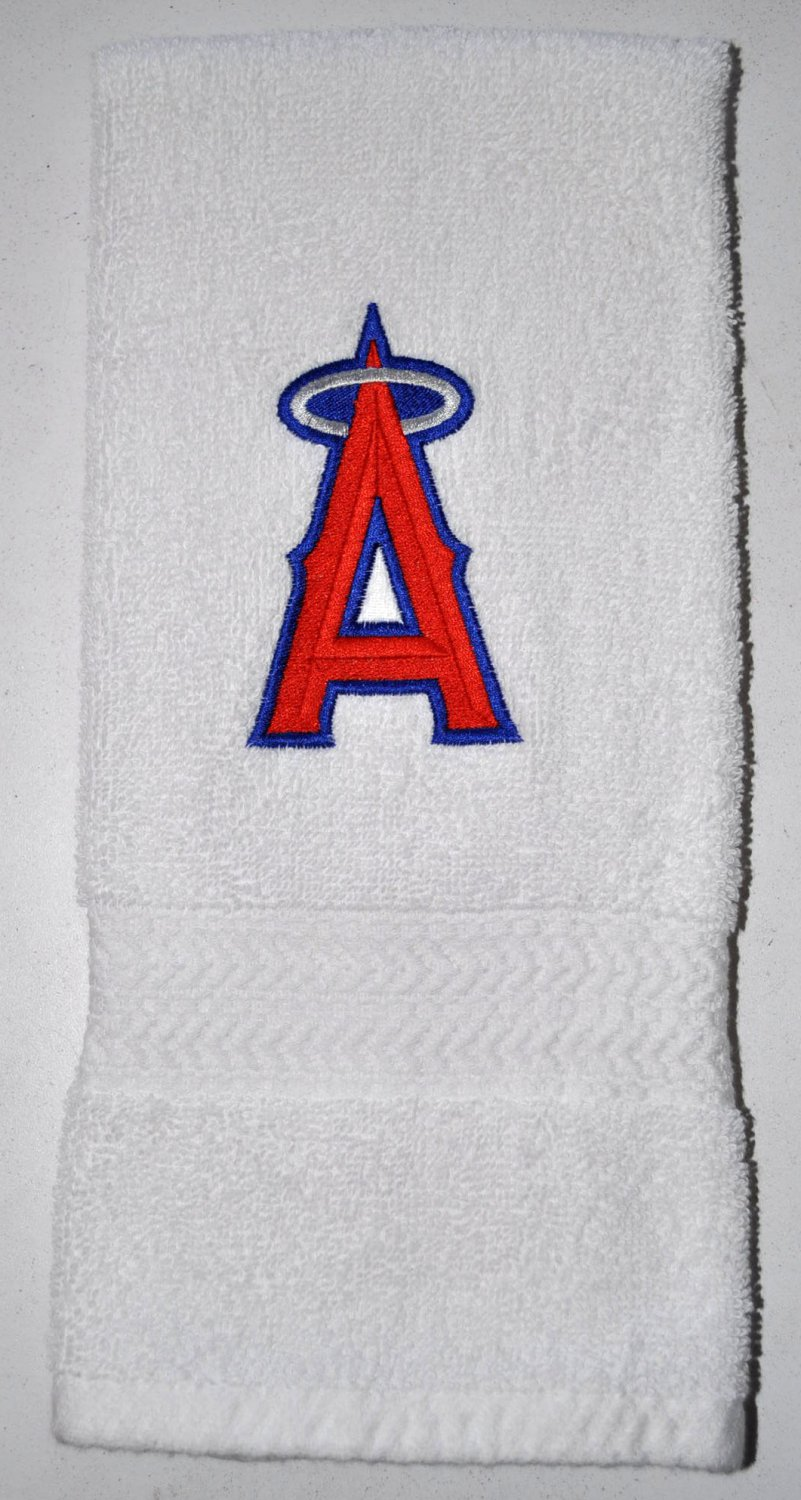 Embroidered White Hand Towel (Los Angeles Angels)