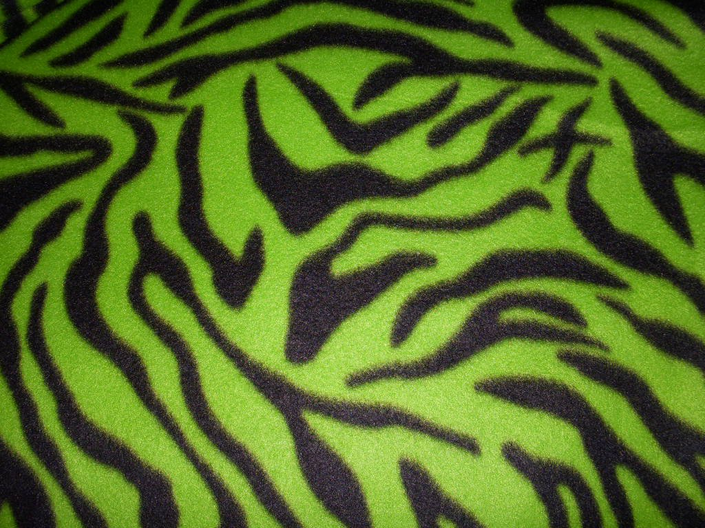 Green Zebra Print Fleece Fabric Sold Bty