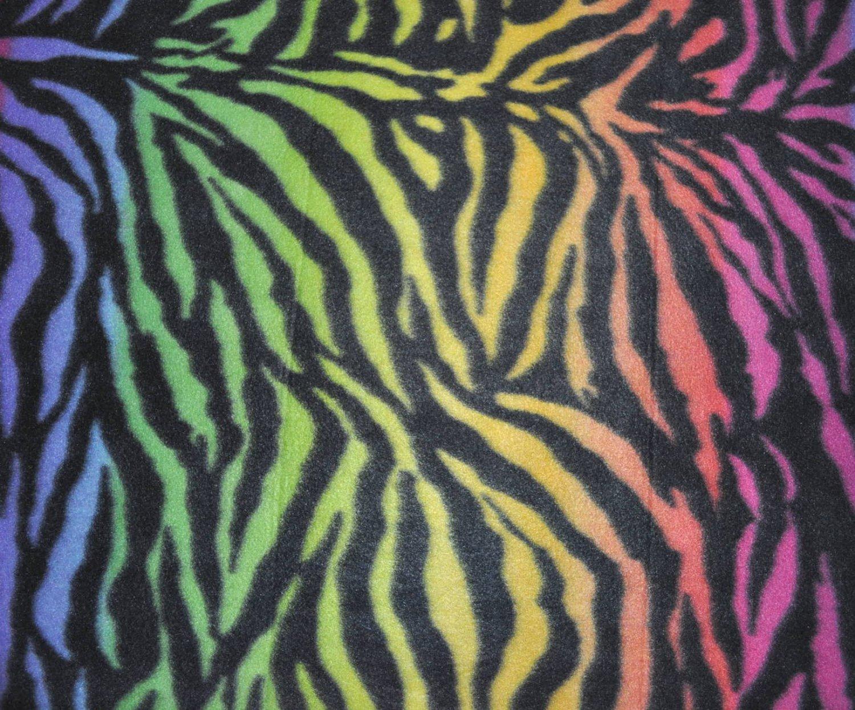 Rainbow Zebra Print Fleece Fabric Sold Bty