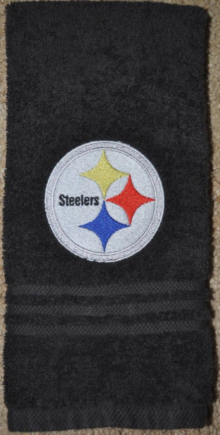 Embroidered Black Hand Towel (Pittsburgh Steelers)