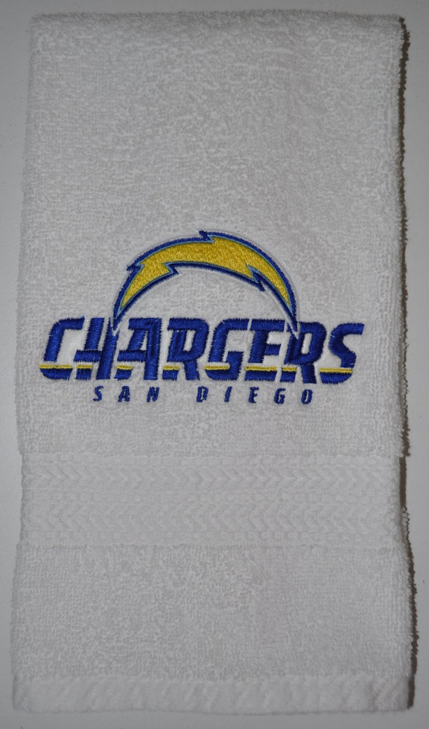 Embroidered White Hand Towel (San Diego Chargers)
