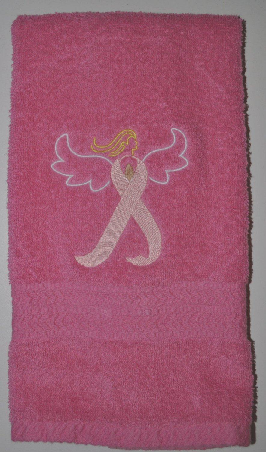 "Embroidered ""Pink Ribbon Angel"" Breast Cancer Awareness Hand Towel"