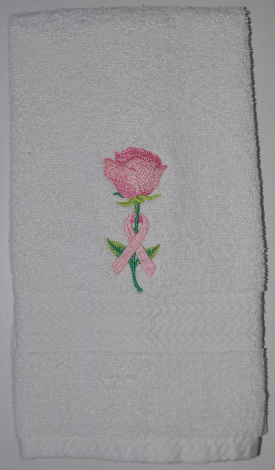 "Embroidered ""Awareness Rose"" Breast Cancer Awareness Hand Towel"