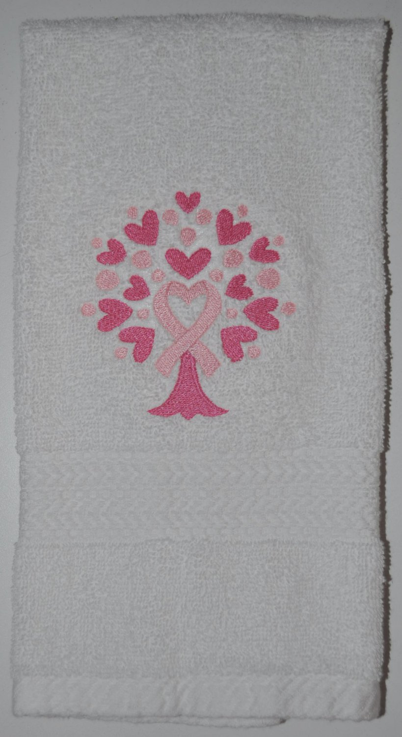 "Embroidered ""Awareness Ribbon Tree"" Breast Cancer Awareness Hand Towel"