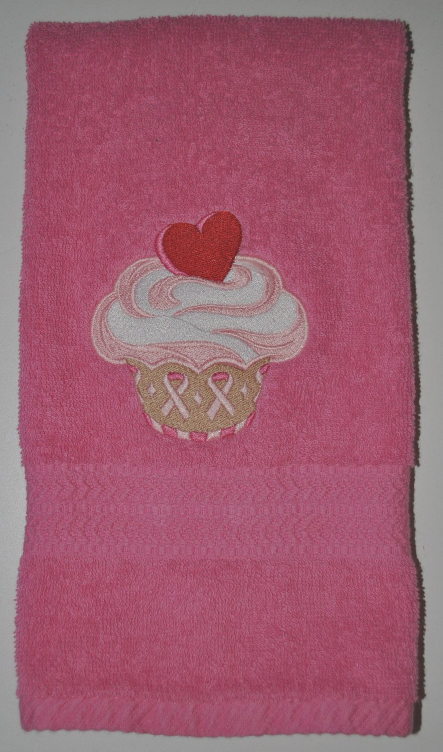 "Embroidered ""Support Is Sweet Cupcake"" Breast Cancer Awareness Hand Towel"