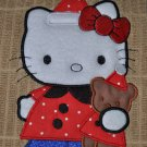"Embroidered Dish Towel ""Hello Kitty In PJ's & Bear"""