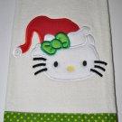 "Embroidered Dish Towel ""Hello Kitty Santa Hat 2"""