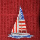 """Embroidered Dish Towel """"American Flag Sailboat"""""""