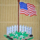 """Embroidered Dish Towel """"American Flag In Flowers"""""""