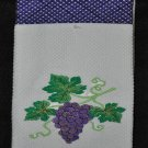 """Embroidered Dish Towel """"Watercolor Grapes in Purple"""""""