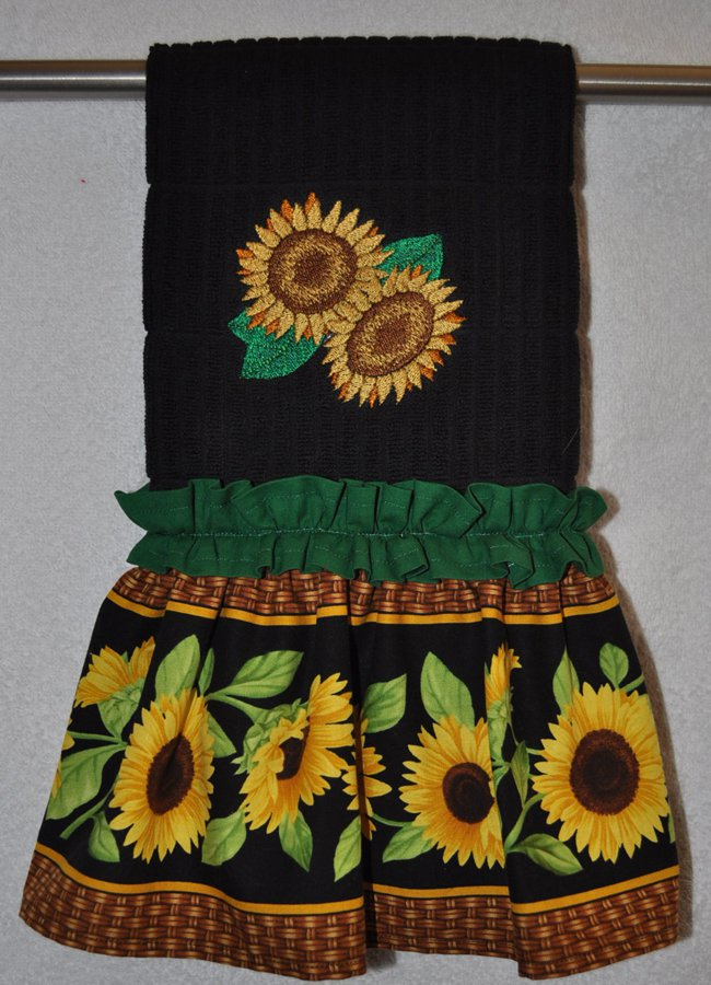"Embroidered Dish Towel  ""Sassy Sunflowers"""
