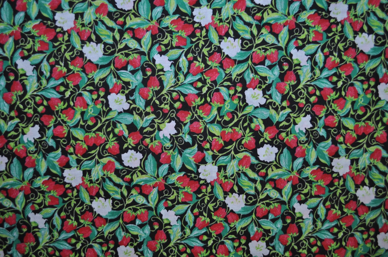 Strawberries Cotton Print Fabric - Sold BTY