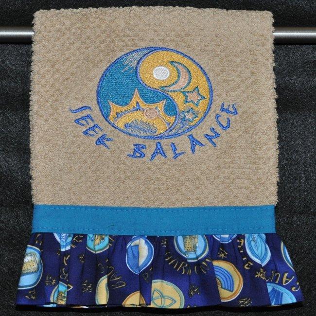 "Embroidered Dish Towel  ""Seek Balance"""