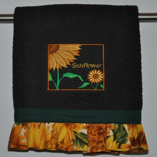 """Embroidered Dish Towel  """"Sunflower Box"""""""