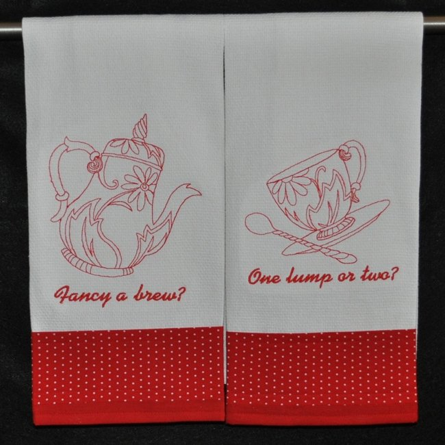 "Embroidered Dish Towel Set ""Fancy A Brew? One Lump Or Two?"""