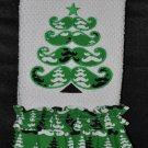 """Embroidered Applique Dish Towel """"Mustache Christmas Tree"""""""