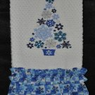"""Embroidered Dish Towel """"Snowflake Christmas Tree"""""""
