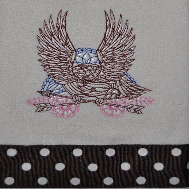 "Embroidered Dish Towel ""Mehndi Soaring Eagle"""