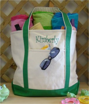 large beach tote bag {Green}