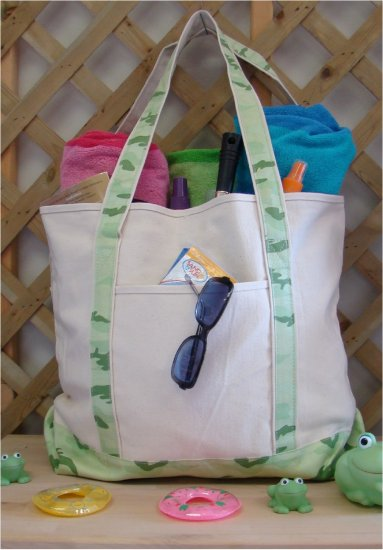 large beach tote bag (Green Camo)