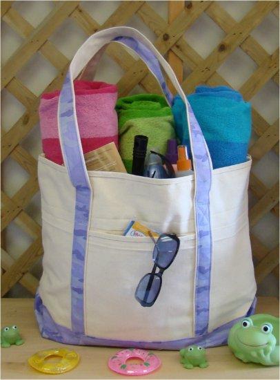 Large beach tote Bag (Violet camo)