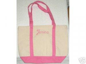 pink/natural  Boat tote bag
