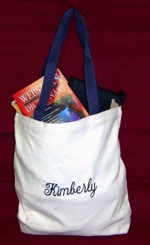 navy strap tote bag