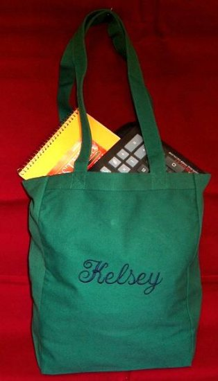 forest green book tote bag