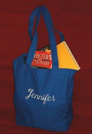 royal blue book tote bag