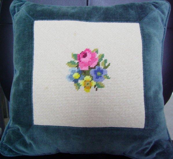 Sweet Needlepoint Pillow Roses and Velvet