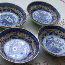 Set of 4 Blue Imari Porcelain Antique Dragon Nut Cups
