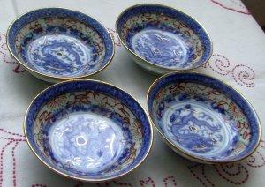Set of 4 Blue Imari Porcelain Antique Dragon Nut Cups