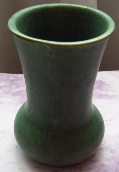 Early Antique Matte Green Hampshire Pottery Vase