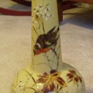 Early Victorian Bristol Satin Glass Vase with Birds