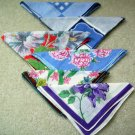 Lot of 6 Vintage 1940s Linen Floral Hankies