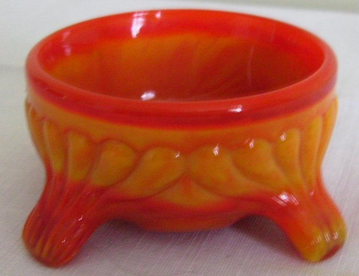 Vintage Orange Slag Glass Open Salt